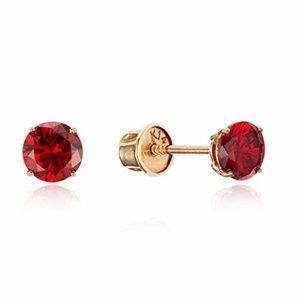 14k Yellow Gold 3mm Round Ruby Girls Earring